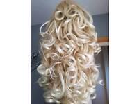 Camelia Rose Robyn Platinum blonde long curly irish dancing wig VGC.