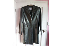 Ladies Soft Leather Long Coat Size 12