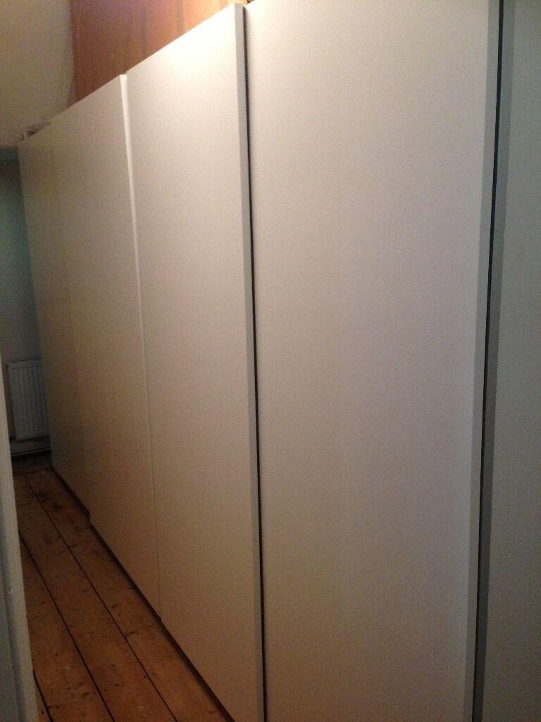 ikea pax 2 large wardrobe wall units sliding doors white. Black Bedroom Furniture Sets. Home Design Ideas