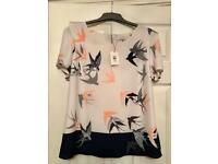 Oasis Print Multi Bird Formal T-Shirt Top Tee