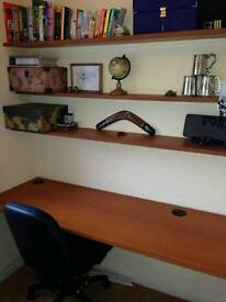 DESK AND SHELF BOARDS FOR SALE, PERFECT FOR SMALL OFFICE ROOM