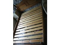 Double Bed 4ft 6ins Solid Pine Frame with Low Foot End ;