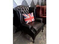 Stunning Chesterfield Queen Anne Wing Back Dark Brown Leather Arm Chairs - UK Delivery