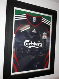 Signed Liverpool shirt framed
