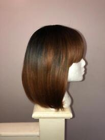 "Synthetic Black Ombré Bob Hair Wig 10"" With Fringe"