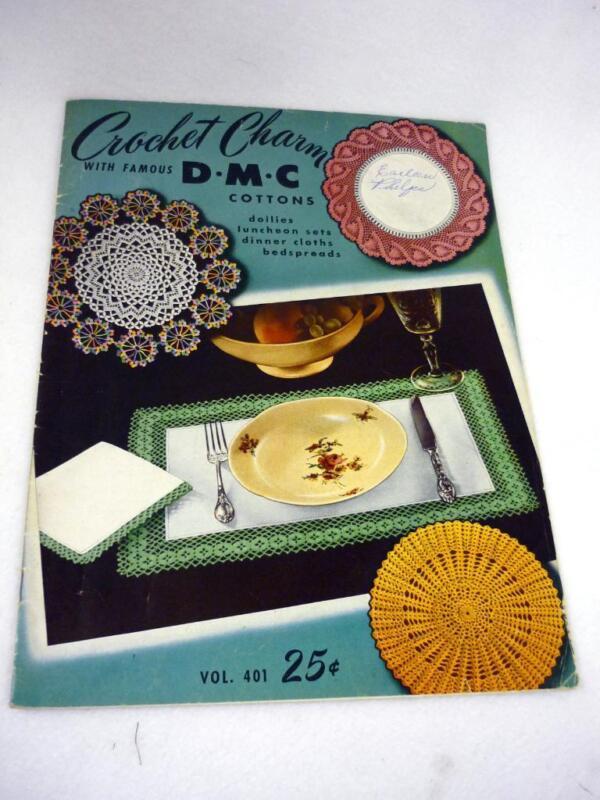 VTG DMC CROCHET CHARM BOOK DOILIES LUNCHEON SETS DINNER CLOTHS BEDSPREADS CLUNY
