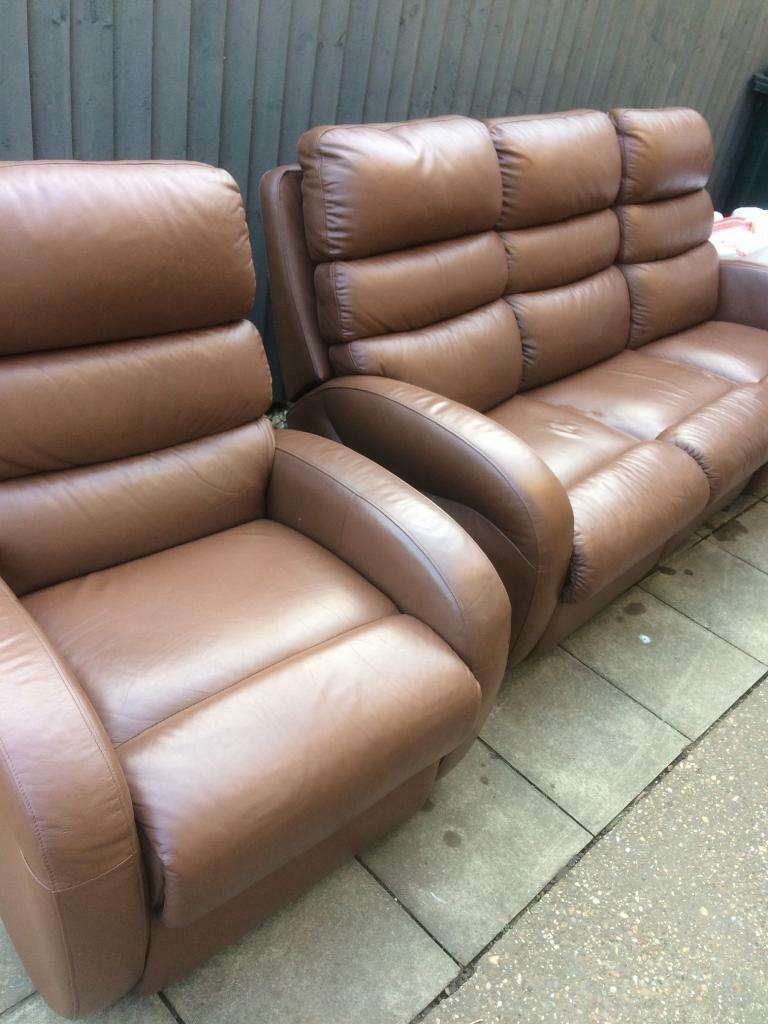 Lazy boy leather reclining sofa 3 and 1 seater settee   in ...