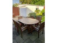 Solid Wood Outdoor Patio Table & Chairs