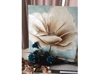 Canvas + blue and cream flowers
