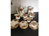 Royal Albert old country rose coffee set with vase