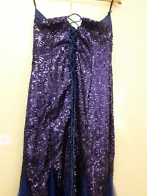 Royal blue floor length evening dress with lace up back eill fit size 14-18