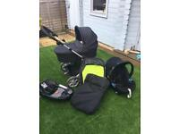 Mamas & Papas Zoom Travel System (car seat, push chair and pram) inc Isofix base