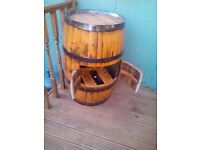 Oak barrel drinks cabinet