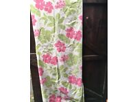 Dunelm ring top pink cream floral curtains and cushions