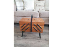 Vintage Wooden Cantilever Sewing Box With Legs 1950s
