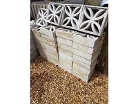 35 Used Off White Decorative Wall / Screen Leaf Blocks