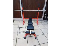 Bench and squat rack with weights