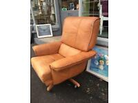 Tan leather armchair retro vintage style modern