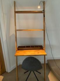 Futon oak desk ladder with chair clip light in excellent condition