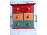 Trinket Chest of Drawers Cabinet Storage red green orange wooden footballer ends
