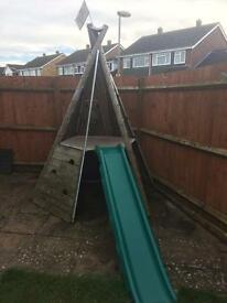Wooden Tp Outdoor Wigwam and Slide