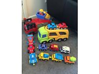 Fire engine and vehicle transporter 11 magnetic cars