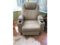 Leather swivel recliner chair with massage function