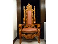 LARGE CARVE WOODEN THRONE/CHAIR. WEDDING THEATRE