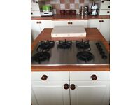 BOSCH 5 RING GAS HOB 90cm BRUSHED STAINLESS STEEL GOOD USED CONDITION Inc OPERATING MANUAL