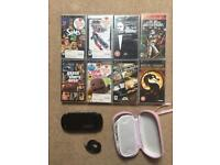 PSP and charger + games bundle + pink case