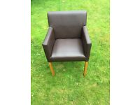 2 x brown leather chairs £20 each.
