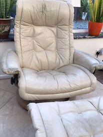 Leather Reclining Chair and Footstool - Free for pick up