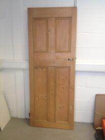 Original old vintage Edwardian reclaimed 4 four panel pine wooden door