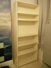 Large white bookcase/dvd storage/ornament display