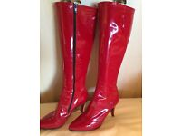 Red PVC Size 6.5/7 Costume Boots - as new