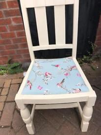 Chair painted in Cream with Dunhelm Fabric Ideal for a Bedroom