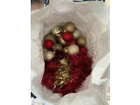Gold and red Christmas decorations