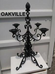 "ANTIQUE CANDELABRA Heavy Cast Iron 16x16x32"" Black Solid Pineapple top 4 candle holder gothic goth vintage Oakville"