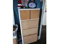 IKEA Rakke chest of drawers Dresser white + wood beech deep drawer fronts, kids storage bedroom