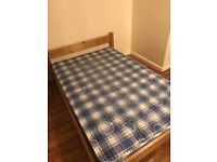 SOLID PINE WOODEN SMALL DOUBLE BED FRAME + MATTRESS. EXCELLENT COND.