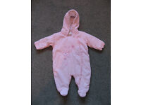 Pink snowsuit age 0-3 months - great condition
