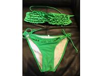 New and never used ruffle green bikini size 8-10