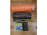 NEW Foam roller, jump rope, sports bottle, massage stick