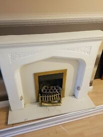 Ornamental plaster fireplace and marble herth for sale