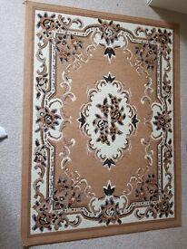 Beige/brown oriental style floor rug
