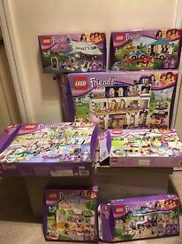 Lego friend grand hotel, heartlake shopping mall, juice bar, caravan, aeroplane, many more