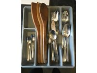 cutlery, organising box, and wooden utensils
