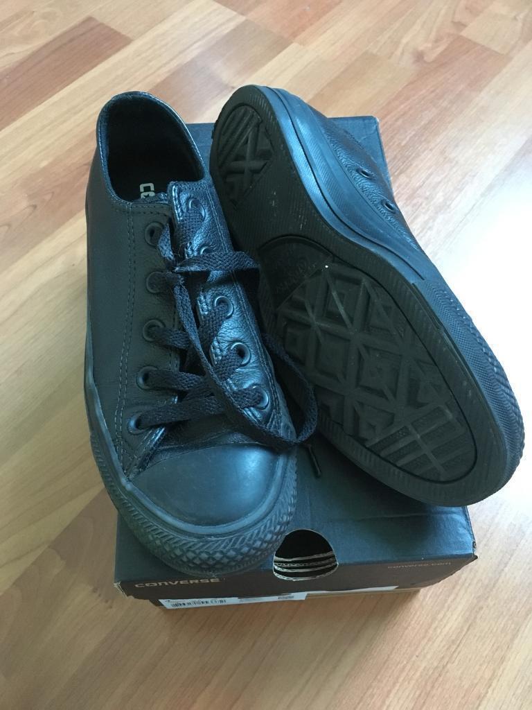 2da8d83fa36 Black leather converse