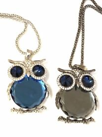 A sparkling owl necklace