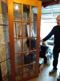 Pine 15 pane glazed door, size 1970mm by 755mm